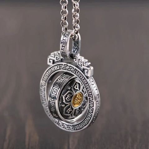 Image of MANTRA ROTATING PENDANT-STERLING SILVER