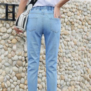 hole jeans female 2019 fashion new summer Korean version loose bf was thin jeans new casual nine points straight pants women