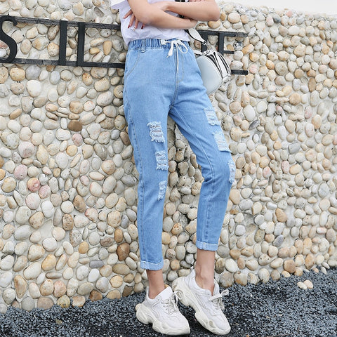 Image of hole jeans female 2019 fashion new summer Korean version loose bf was thin jeans new casual nine points straight pants women