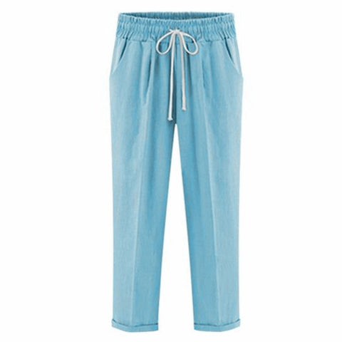 Image of Drawstring Elastic Waistband Pocket Pants