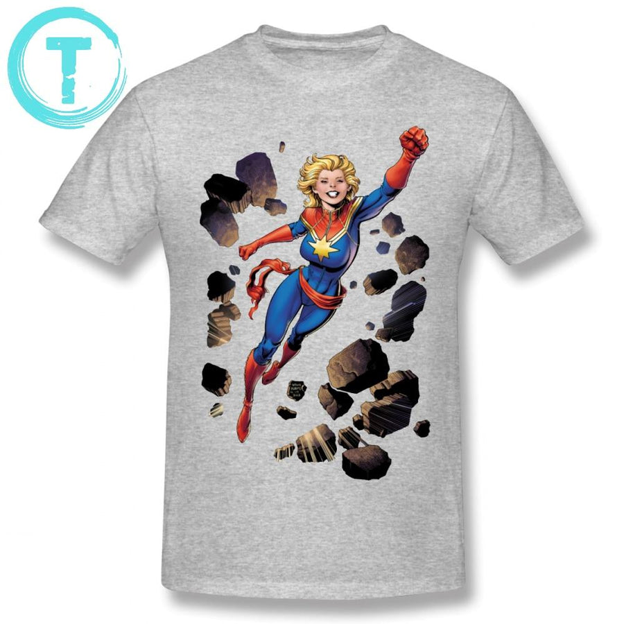 9571f8b2643 Captain Marvel T Shirt Breaking Through Wall T-Shirt Print 100 Percent Cotton  Tee Shirt