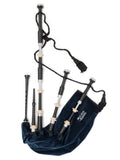 McCallum Highland Bagpipes - P4- Black Acetyl - fully combed & beaded with imitation ivory mounts & alloy engraving