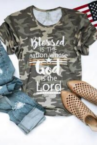 Blessed is the Nation Camo Scoop Bottom Tee