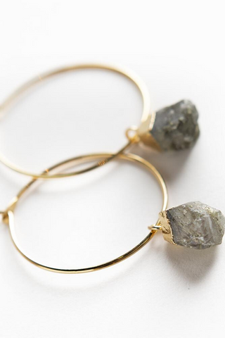 Bella Gemstone Earrings-Labradorite