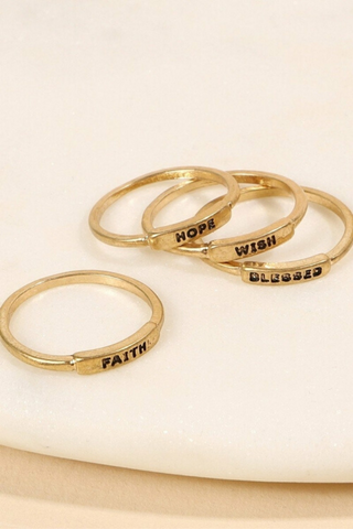 Inspirational Metal Rings Set