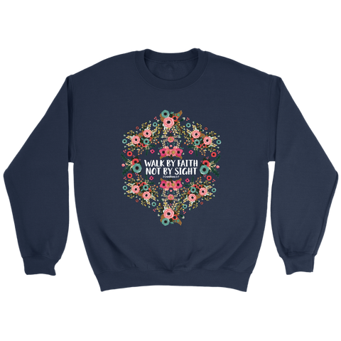 Walk by Faith Floral Graphic Sweatshirt in Navy