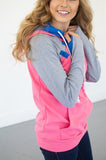 Passion Pink Color Block Hoodie