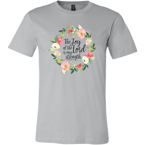 The  Joy of the Lord Floral Graphic T Shirt - Women's in Silver or Soft Cream