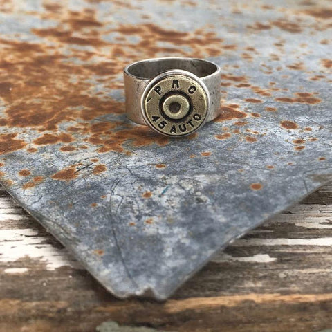 Adjustable Wide Band Bullet Ring - Silver