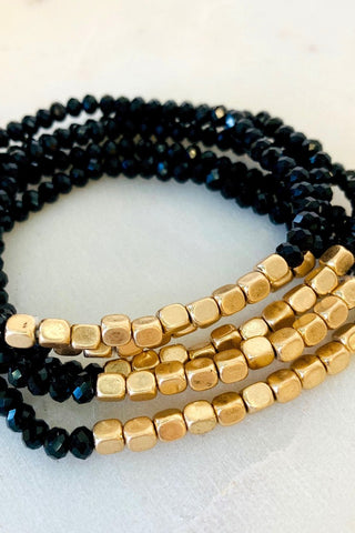 Five Strand Stone and Gold Bracelet - Black - pretty-simple-2