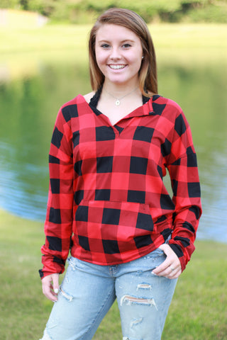 Sadie Kangaroo Top | Red Buffalo Plaid