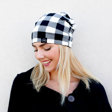Black and White Buffalo Check Peek-a-Boo Beanie, for Messy Buns and Ponytails / Face Mask Cover