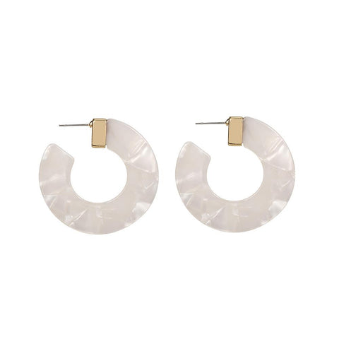 Ivory Acrylic Hoop Wholesale Earrings