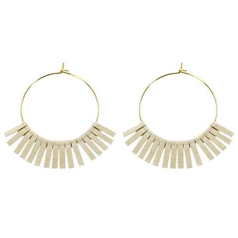 Ivory Leather Circle Wholesale Earrings