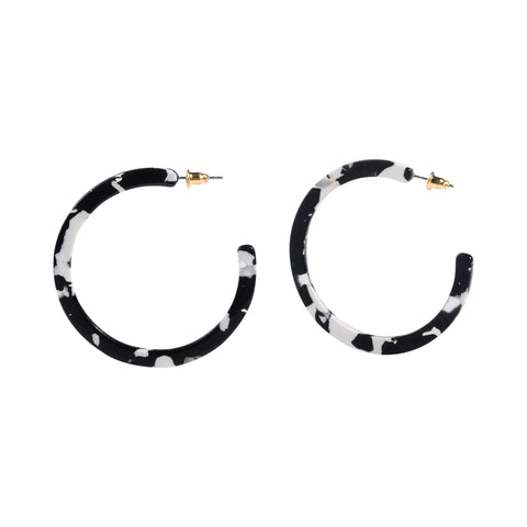 Black/White Acrylic Thin Hoop Wholesale Earrings