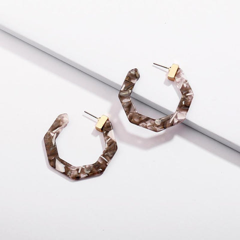 Gray/Brown/Ivory Acrylic Hoop Wholesale Earrings with Metal Cap