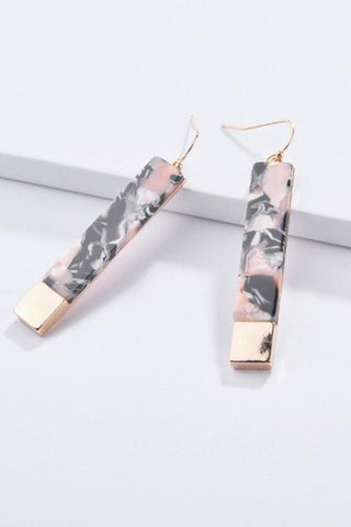 Pink Marble Acrylic Bar Wholesale Earrings with Gold Metal Cap