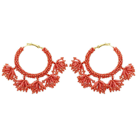 Dark Peach (Coral) Seed Bead Dangle Hoop Wholesale Earrings