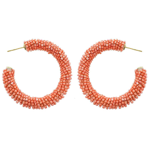 Peach Beaded Hoop Wholesale Earrings