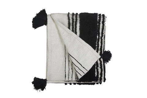 Tufted Slub Throw, Black & White, 50x60