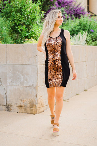 Vertical Color Block Racerback Dress in Leopard