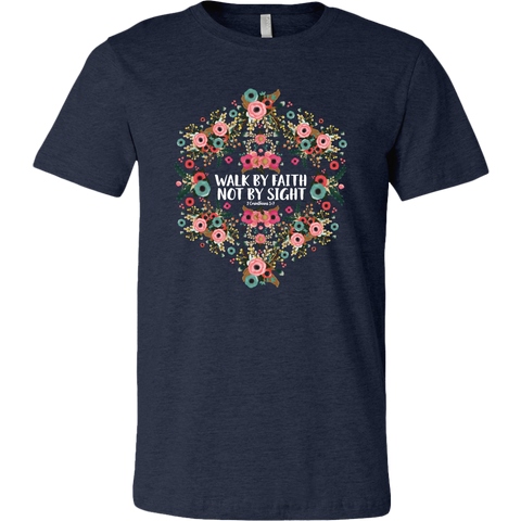 Walk by Faith Floral Graphic Tee in Heather Navy or Heather Maroon