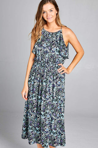 Paisley Ruffled Maxi Dress