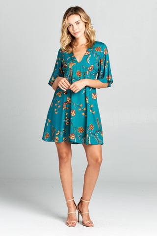 V Neck Short Sleeve Dress in Teal Boho Floral