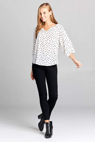 Renee C. Cat Print Top with V-notch Neckline