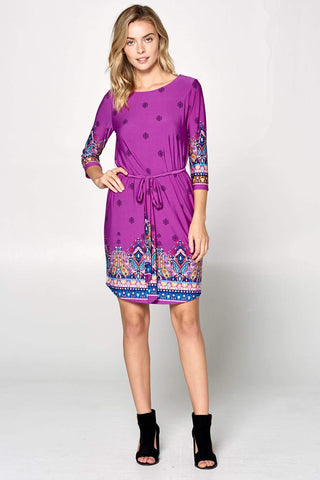 Boho Print Dress with Tie Waist