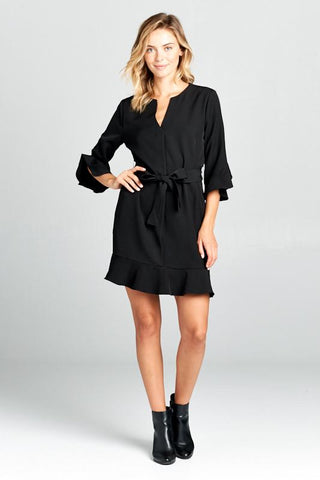 Bell Sleeve Dress with Tie at Waist