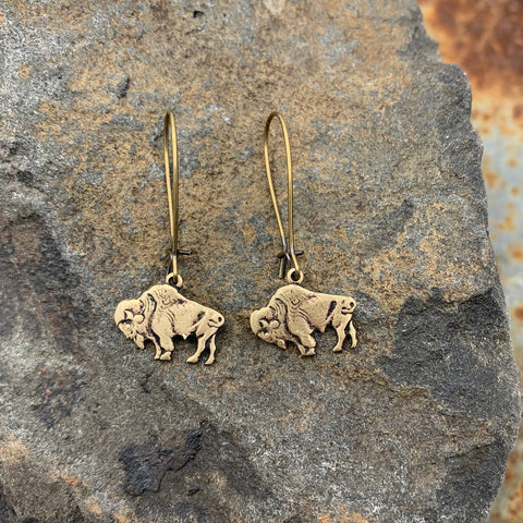 RoAm My WaY Buffalo Bison Antique Bronze Earrings