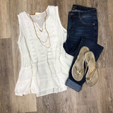 White Tank with Crochet Yoke