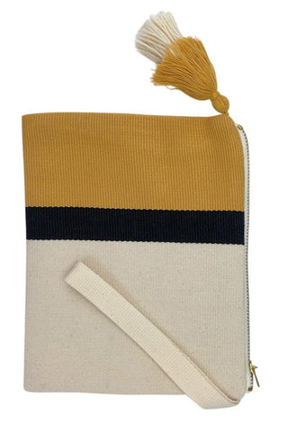 handmade fair trade clutch in mustard