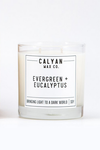 evergreen and eucalyptus Calyan Wax Co candle