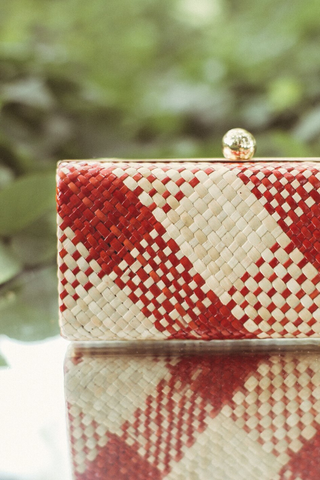 red gingham straw clutch fair trade