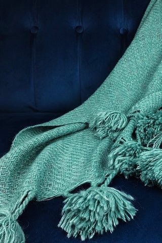Emerald Pom-Pom Alpaca Throw
