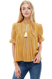 mustard stripe boho top