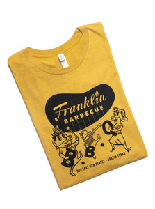 Mustard Yellow Heather Franklin Barbecue T-shirt