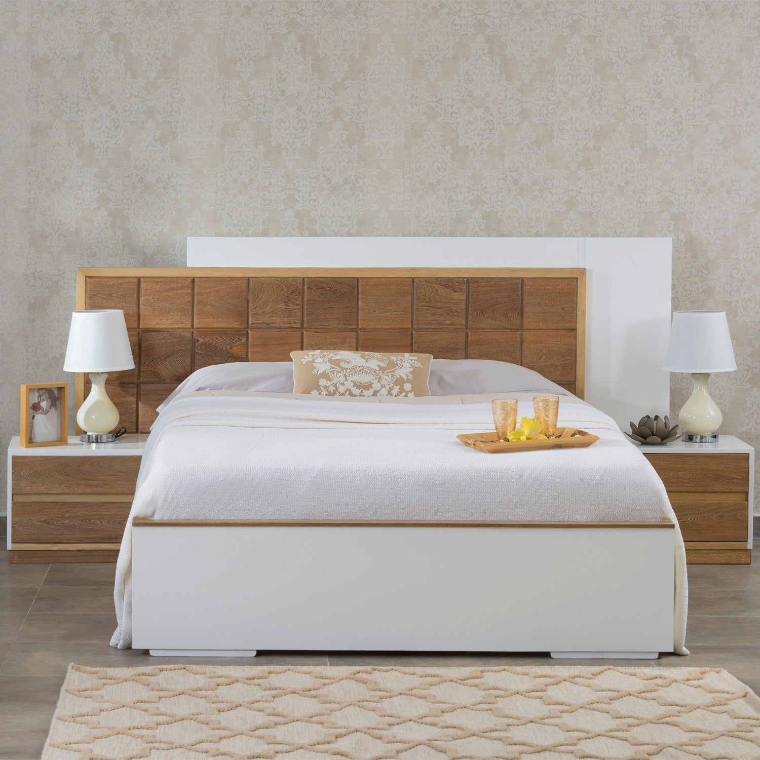 Cama Doble Valentino Blanco, Natural