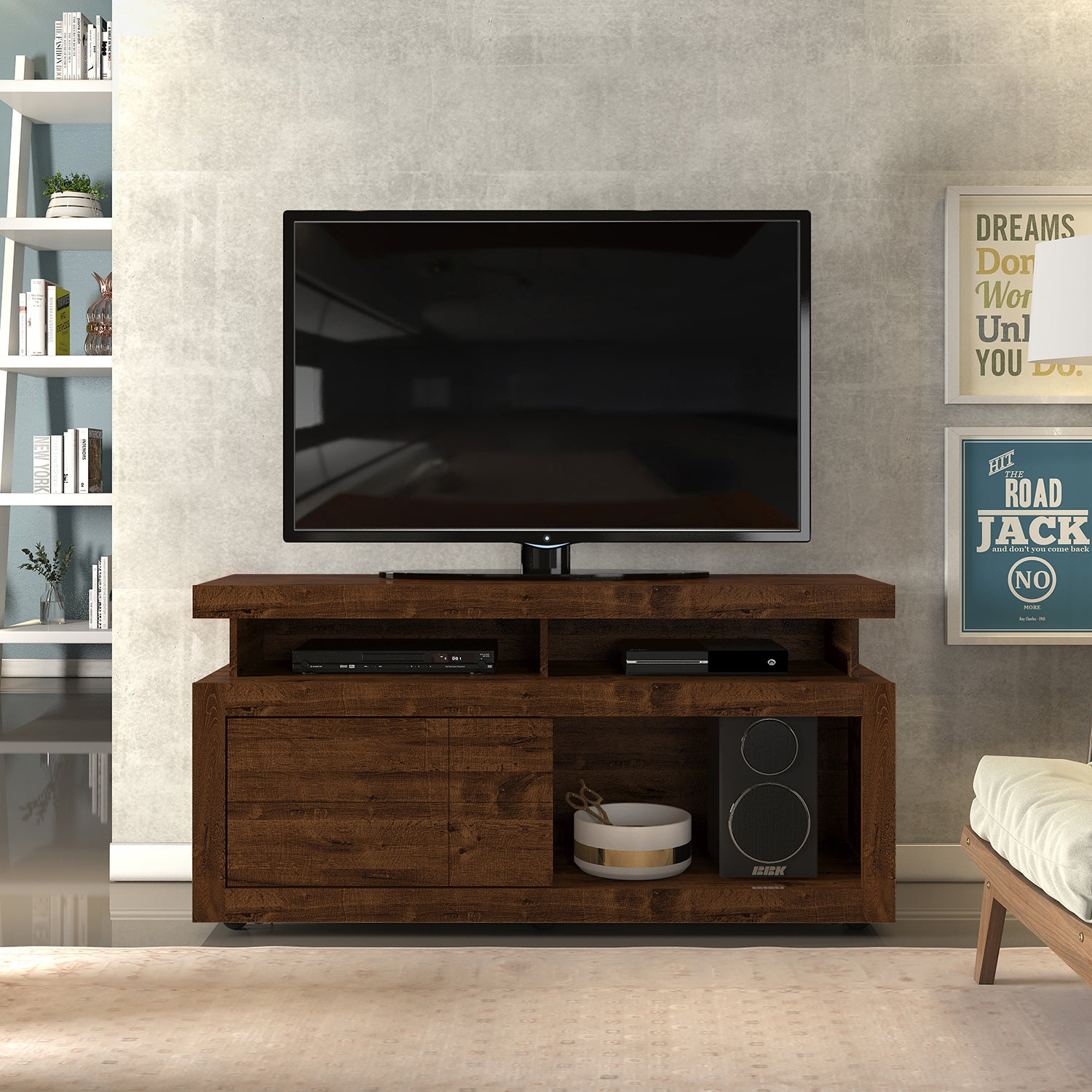 Mesa de TV Amazonas Natural Oscuro 136X66X40