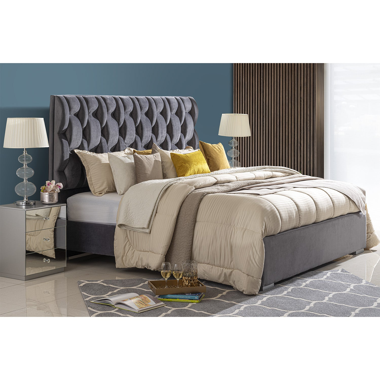 Cama King Basic Kansas Velvet Gris Plomo