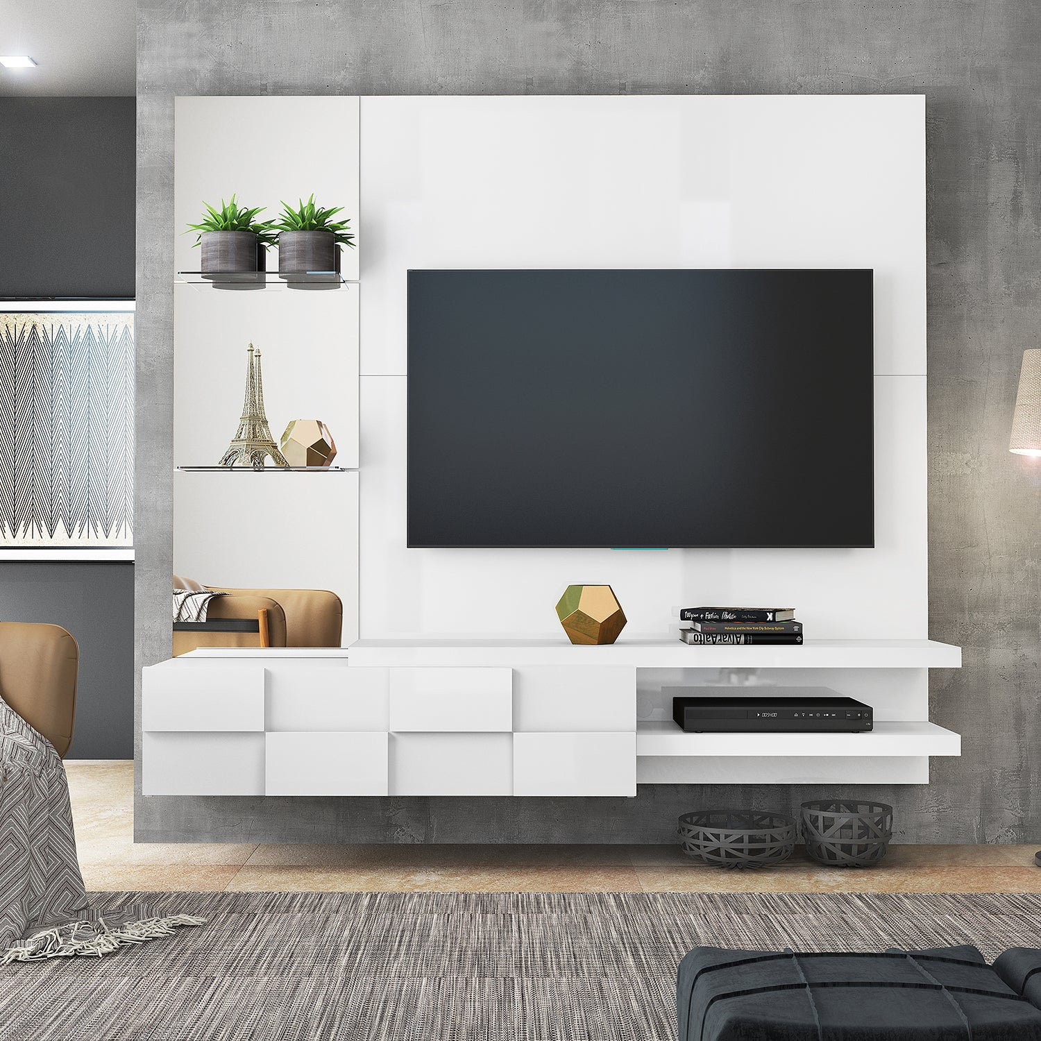 Panel de TV Zurich Blanco 180X165X40