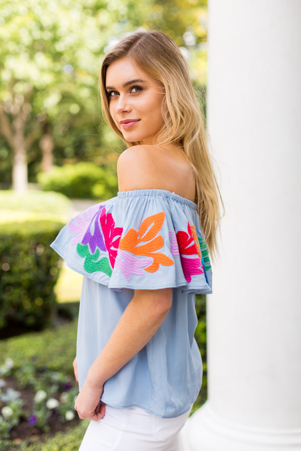 The Maya Off-The-Shoulder Top- Blue