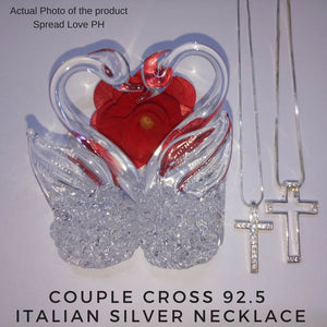 Couple Cross 92.5 Italian Silver Necklace Embedded With Zirconian Stones