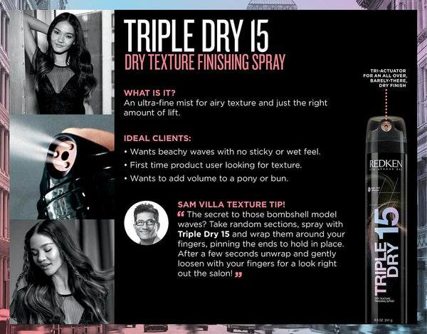 Redken - Triple Dry 15 Dry Texture Finishing Spray - Hair Care Products - Redken - The Best Quality Remy Hair wefts, and shop the best quality remy hair Extensions at Your Hair Shop.