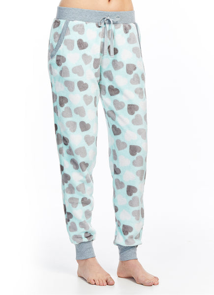 Plush Sleep Pant | Aqua Patterned Lounge Jogger