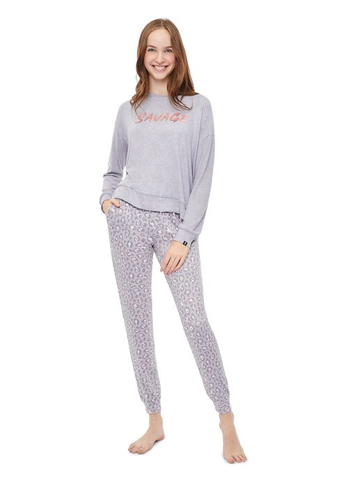 Cozy 2 Piece Pajama Set |  Grey Leopard Pants & Long Sleeve Top