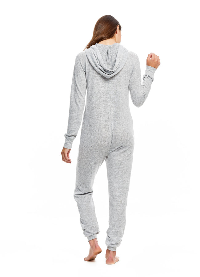 Sleep Riot Women's Super Soft Grey Onesie with Hood | Zippered Sleeper