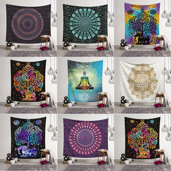 Tapestry Wall Hanging Polyester Indian Mandala Pattern Blanket Home Decoration Yoga Multifunction Mat Small 95x73cm - Tapestry Shopping - Tapestries, Hippies and Wall Hangings